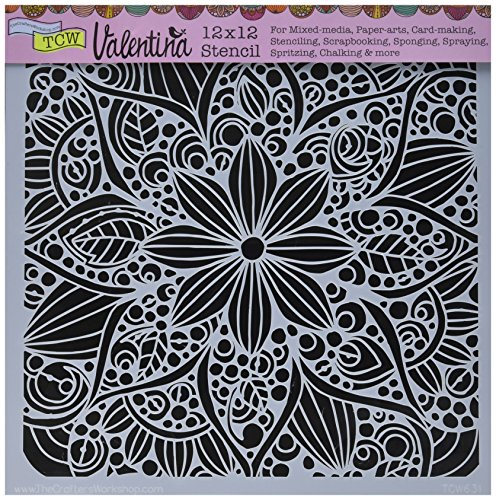 CRAFTERS WORKSHOP TCW631 Template, 12'' x 12'', Doodle Bloom, White by CRAFTERS WORKSHOP