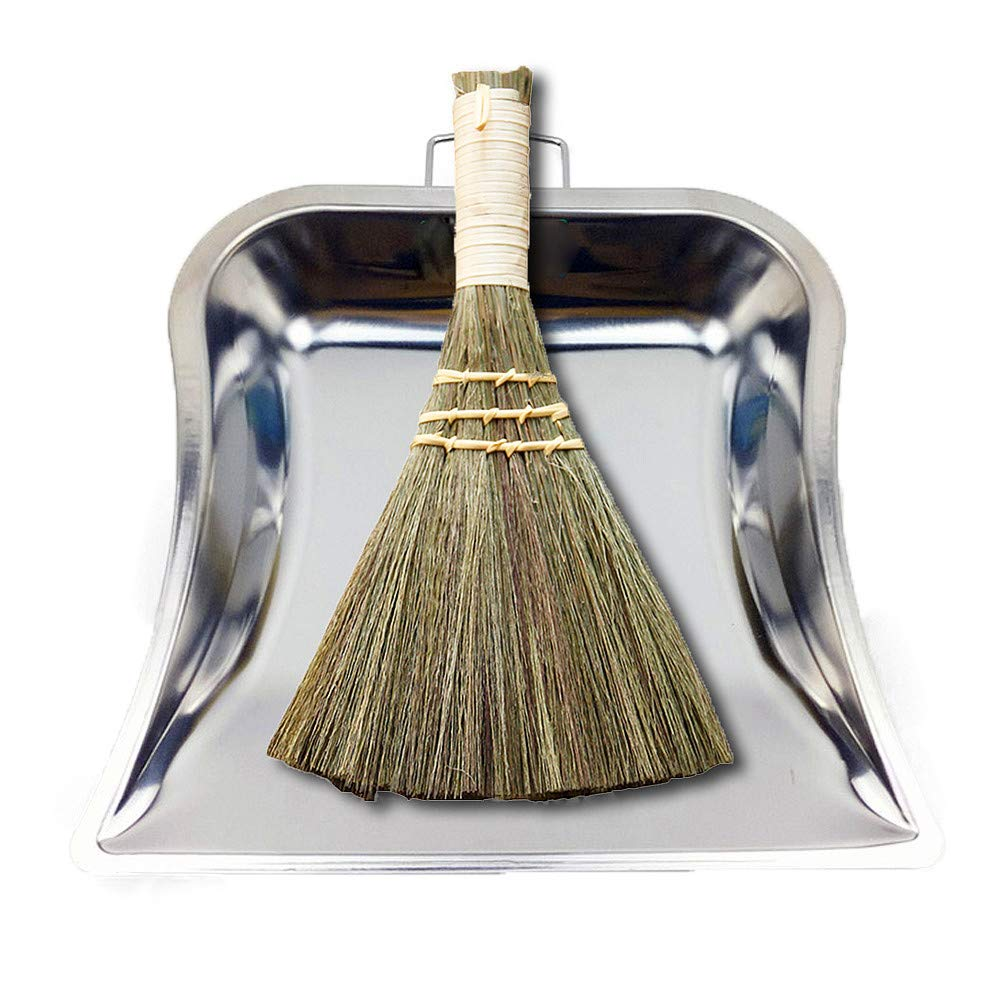 Huibot Metal Dustpan and Brush Set Handmade Natural Palm Broom Mini Size Dust Pan