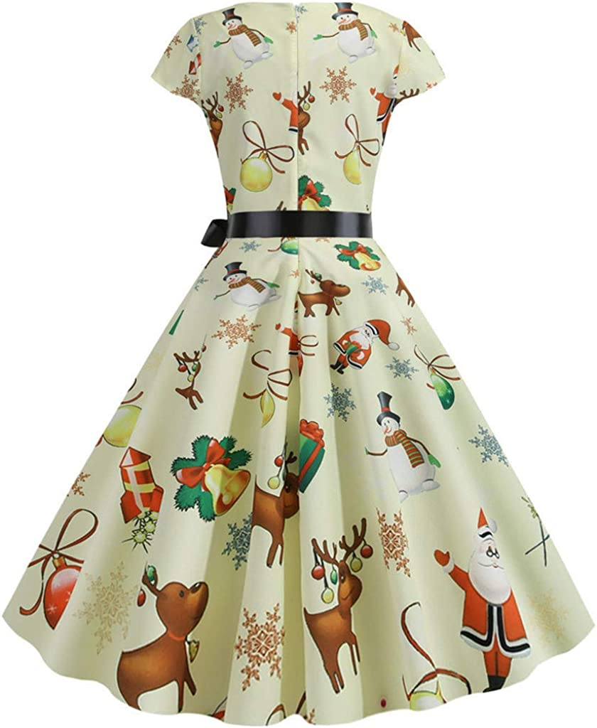 iNoDoZ Womens Crew Neck Festival Dresses Print Vintage Long Sleeve Christmas 1950s Housewife Evening Party Prom Dress