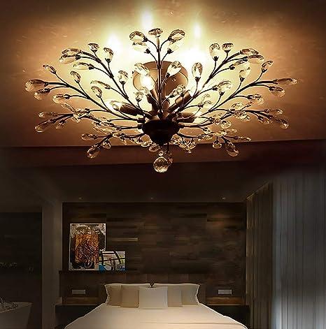 Retro Loft Lámpara de cristal Lámpara de techo LED Vintage ...