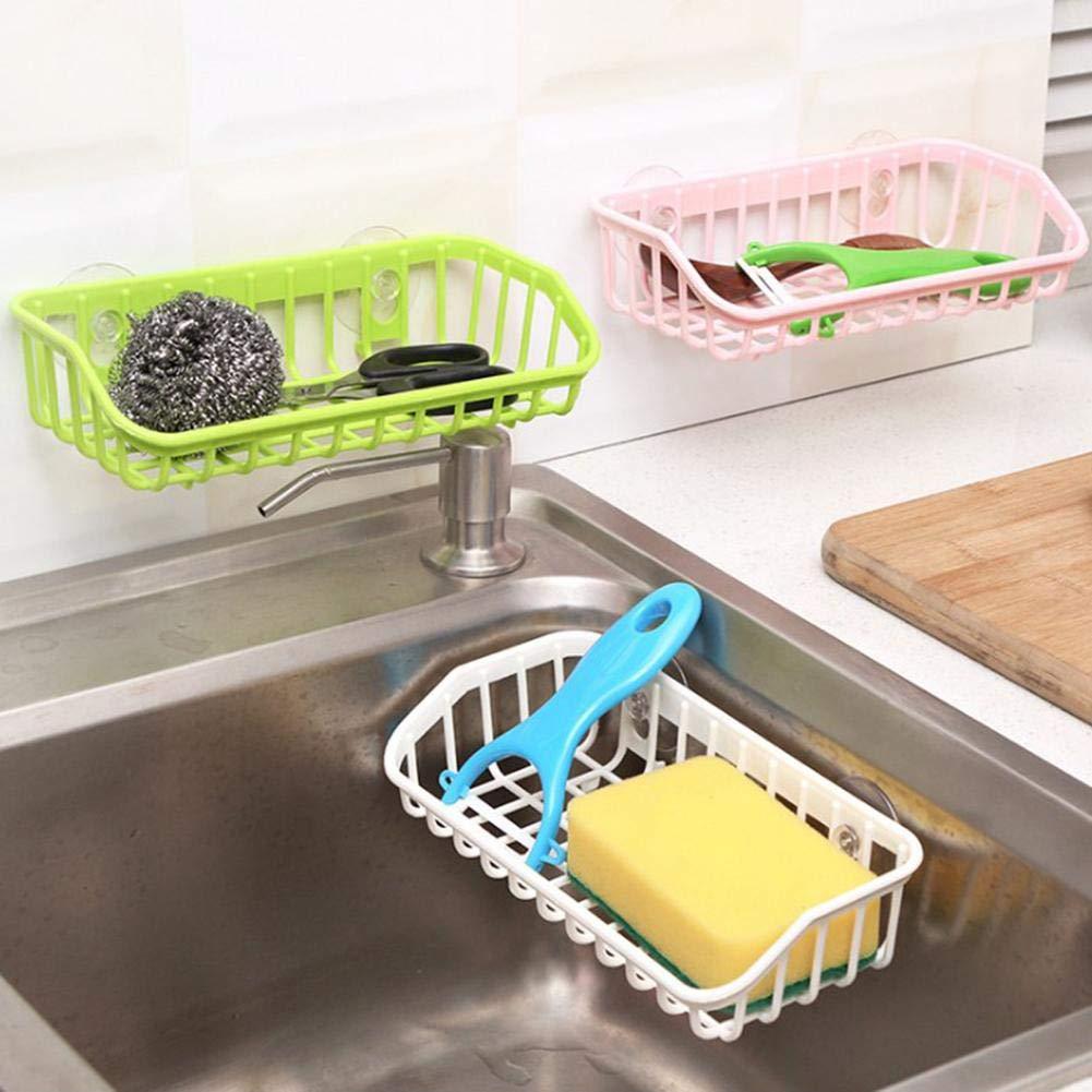 supporto della spugna della cucina con le tazze di aspirazione scaffale daggancio di stoccaggio di pulizia di lavaggio dattaccatura Svuota il cestino di immagazzinaggio del lavandino del canestro