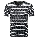 Casual Tops White,Men's Summer Casual SOID Hole V Neck Pullover T-Shirt Top Blouse,Black,M
