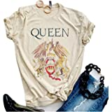 SurBepo Womens Vintage Queen Shirt Summer Cute Short Sleeve Casual Graphic Tees