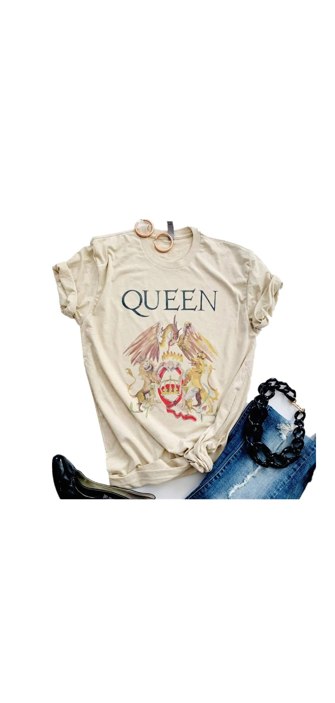 Womens Vintage Queen Shirt Summer Cute Short Sleeve Tees