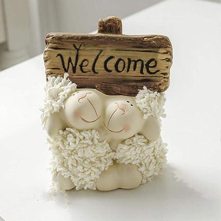 LHQ-HQ Decoraciones del Arte del Arte de la cerámica ovejas Adornos Amantes de los Animales caseros Regalos de cumpleaños Muebles for el televisor: Amazon.es: Hogar