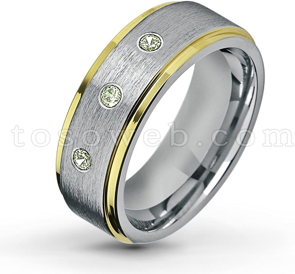 August Birthstone Ring 0.21ctw Peridot /& Diamond 3-Stone Anniversary Band 8mm Brushed Finish Dome Black Tungsten Carbide Ring Tungsten Wedding Ring