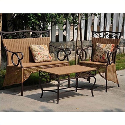 Valencia Resin Wicker Outoor Skirted Settee Group
