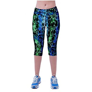 2540e4bb887c60 High Waist Fitness Yoga Sport Pants Colourful Printed Stretch Cropped Gym  Leggings 3/4 Knee Length Ladies: Amazon.co.uk: Clothing