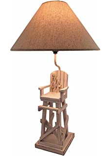 Nice Whitewashed Beach Lifeguard Chair Table Lamp With Linen Shade 28 In.