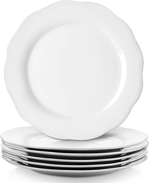 White Serving Platters Y YHY 10.6 Inches Porcelain Scallop Dinner Plate Set Set of 6