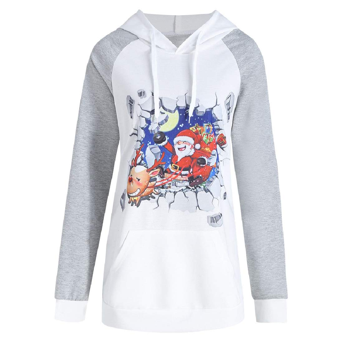 YUNY Women Fall Winter Long-Sleeve Hood Leisure Raglan Christmas Tshirt Light Grey XL