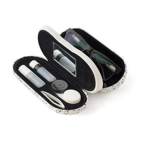 Balvi - Twin Estuche para Gafas y lentillas con Espejo Incorporado. Incluye Recipiente para lentillas, Dos frascos para líquidos y Pinzas.