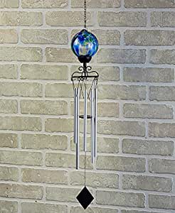 Glass Color-Swirl Solar Wind Chime , Blue