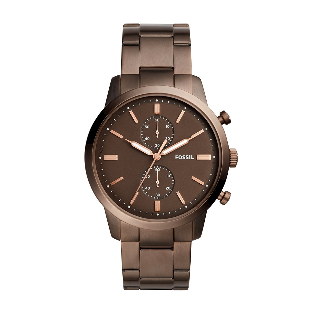 Fossil Men's '44mm Townsman' Quartz Stainless Steel Casual Watch, Color:Brown (Model: FS5347) by Fossil