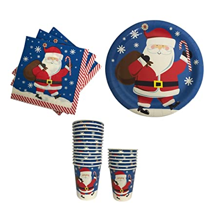 Christmas Paper Plates Napkins and Cups with Santa-- Great for Parties  sc 1 st  Amazon.com & Amazon.com: Christmas Paper Plates Napkins and Cups with Santa ...