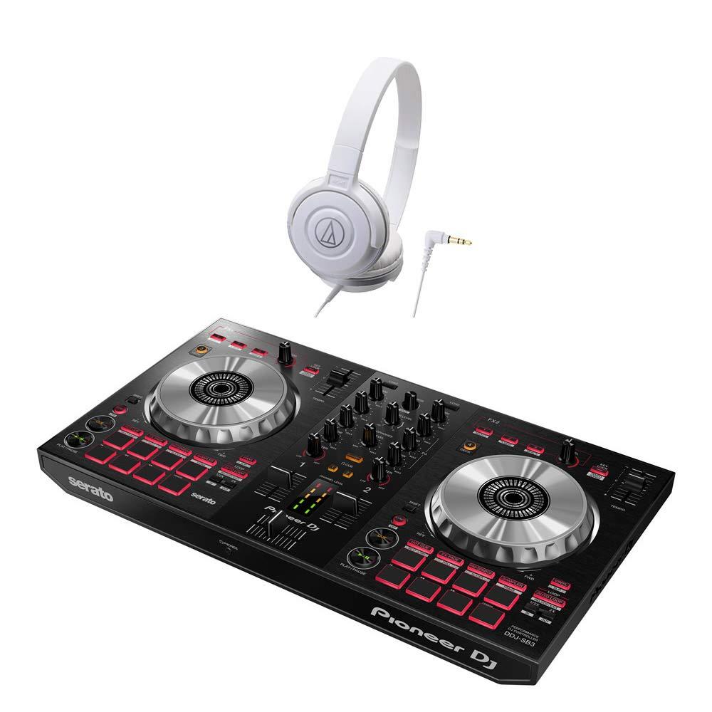 Pioneer DDJ-SB3 デジタルDJ初心者セットLite (ホワイト) [本体+Serato DJ Lite+ audio-technicaヘッドホン] パイオニア  ヘッドホンセット WH B01878DMBU