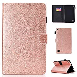 LMFULM® Case for Amazon Fire 7 2015/2017 (7 Inch) PU Magnetic Cover Shining Case Stent Function Holster Leather Case Flip Cover for Amazon Fire 7 2015/2017 Tablet PC Rose Gold