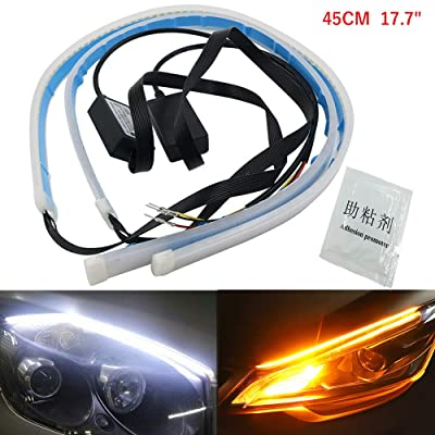 "AMAZENAR Ultra-Bright 45CM 17.7"" White/Amber Flexible LED Tube Strip Style Flowing Bar Silicone DRL Daytime Running Lights Tear Strip Car Headlight Turn Signal Light Parking Car Guide Lamp (1-Set): Automotive"