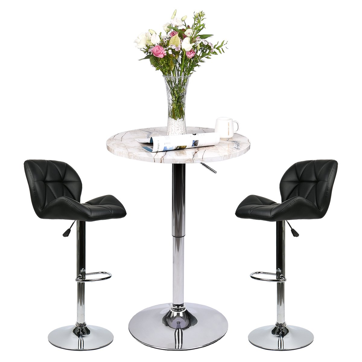 Pub Table Set 3 Piece - 24 inch Round Table with 2 Leatherette Chairs - Height Adjustable (Black Barstools + Marble Stripe Pub Table)
