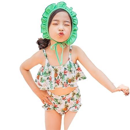 Guolipin Traje de baño niña Traje de baño Dividido con Falda ...