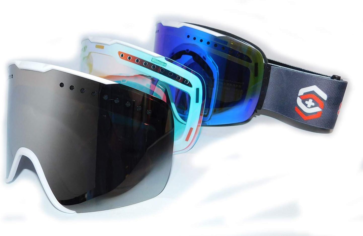 SwissCorps M1S Swiss Army Ski Snowboard Snow Goggles w 3 Magnetic VLT Anti-Fog Lenses Polarized OTG w Case for Men