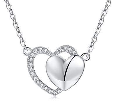 925 Silber Set Kette Anhänger Zirkonia Herz sehr zierlich
