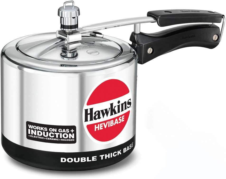 Hawkins Hevibase IH 30 IH30 3-Litre Induction Pressure Cooker, Small, Silver