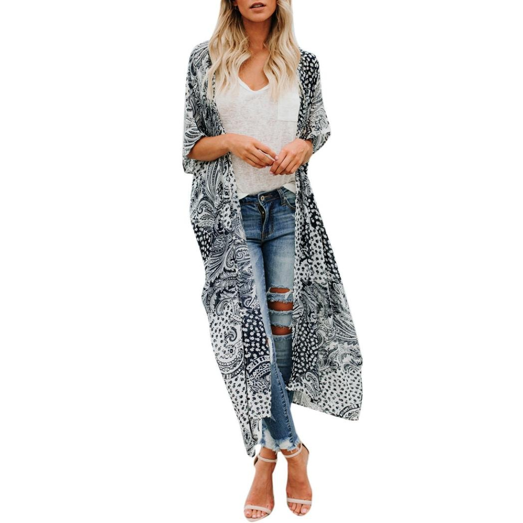Easytoy Women's Flowy Floral Print Kimono Cardigan Open Front Chiffon Beach Long Maxi Dress Cover up with Belt