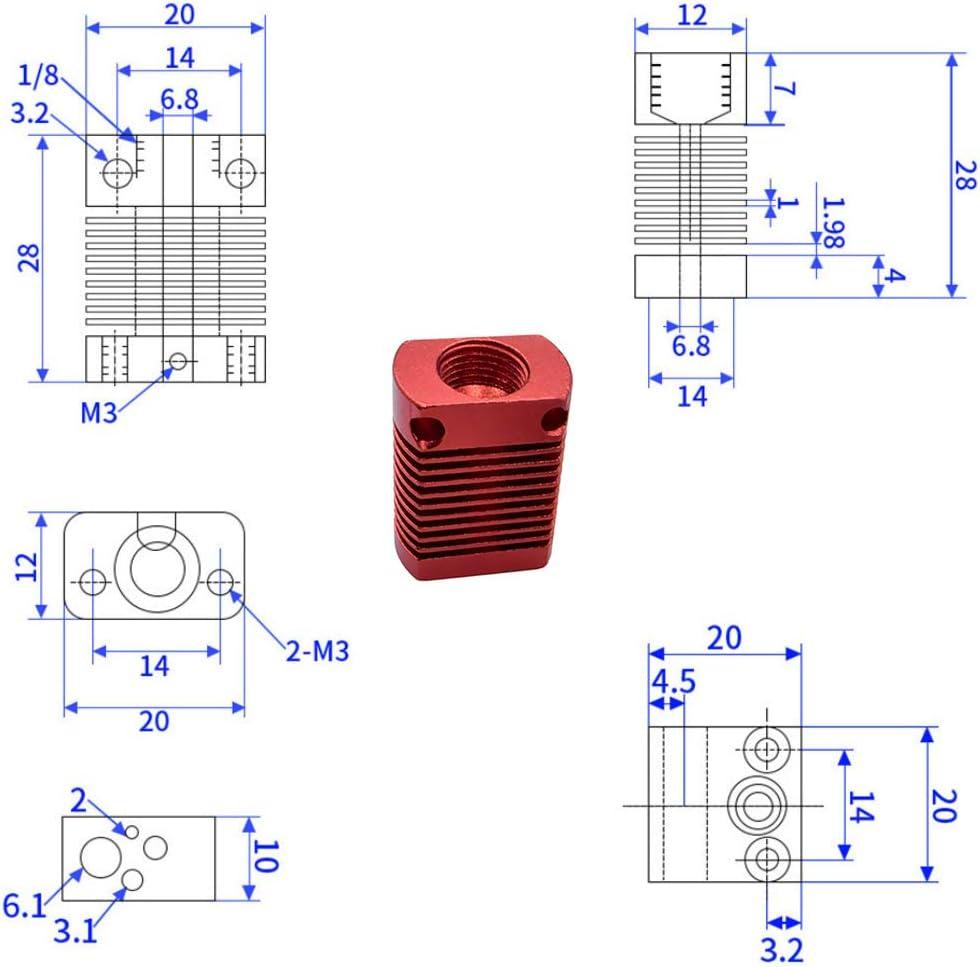 Lesai Extruder Assembled MK8 40 W Kit per Stampante 3D Creality CR-10 // Creality Ender 3 // Ender 3 PRO con ugello da 0,4 mm Tubo in Teflon 24 V