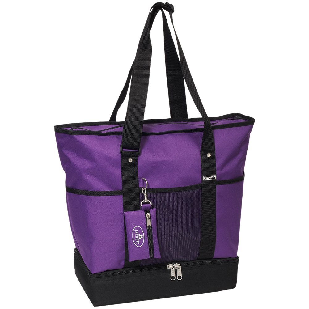 Everest Luggage Deluxe Shopping Tote, Dark Purple/Black, Dark Purple/Black, One Size by EVEREST (Image #1)
