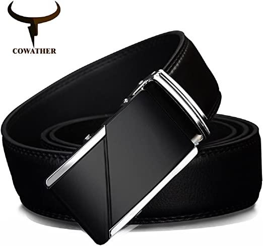 MEN BLACK LEATHER BELT WITH SILVER BUCKLE-S-M-L