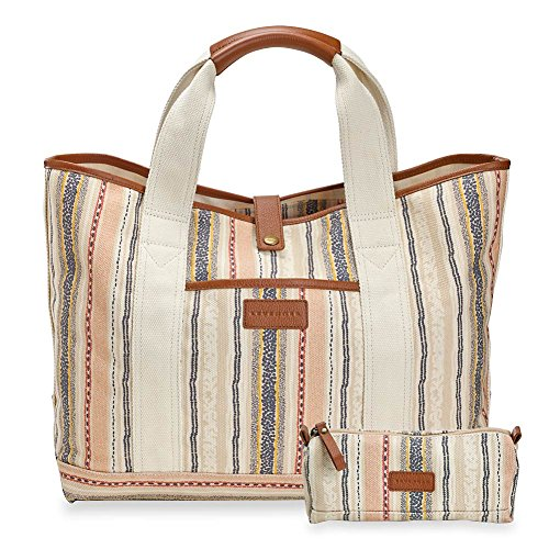 Levenger AM2700 The Shores Roomy Canvas Tote and Pouch - Cabana Print, Multicolored