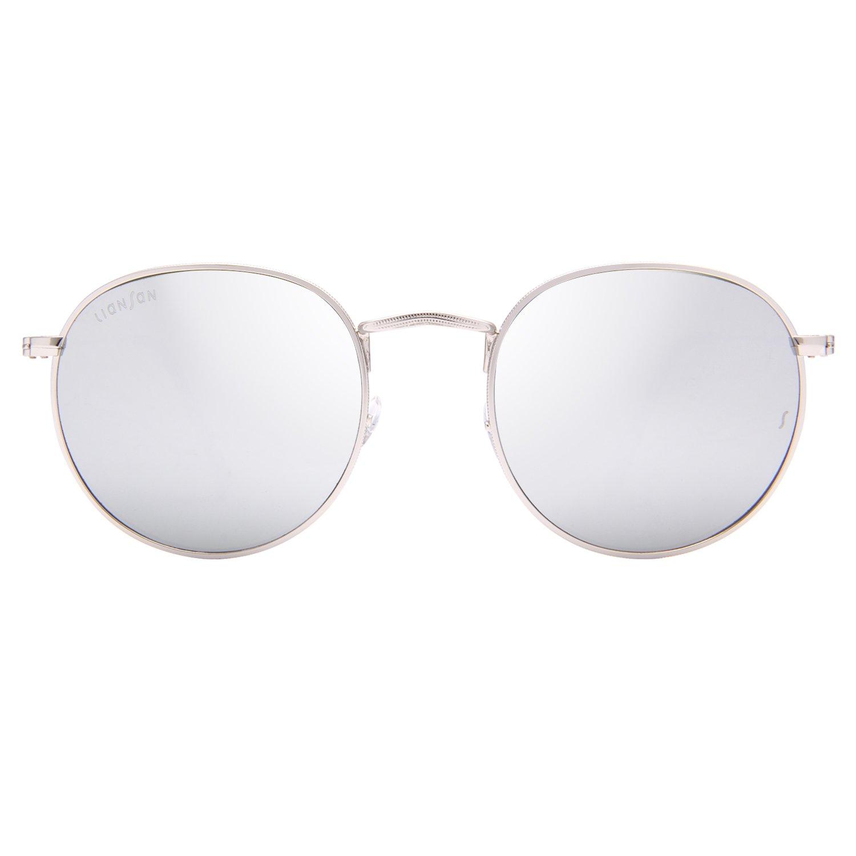 adb9c5e1d2 LianSan Classic Metal Frame Round Circle Sunglasses for Men and Women  Glasses 3447 Silver Glass Lenses