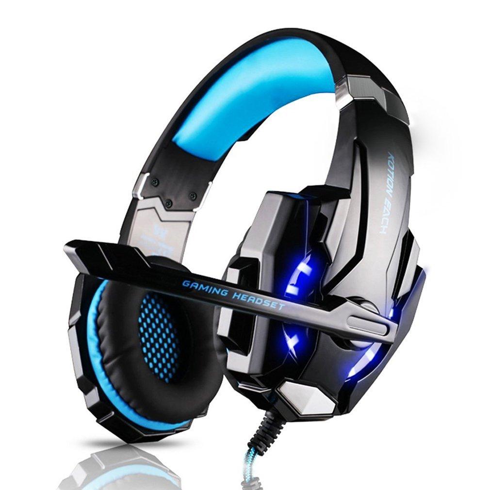 Tsing G9000 Gaming Headset, Professionelle Gaming Kopfhö rer mit Mikrofon 3.5mm On Ear Surround Sound Ohrhö rer mit Bass-Stereo Lautstä rkeregelung fü r PS4 PC Laptop Tablet Mobile Phones Blau