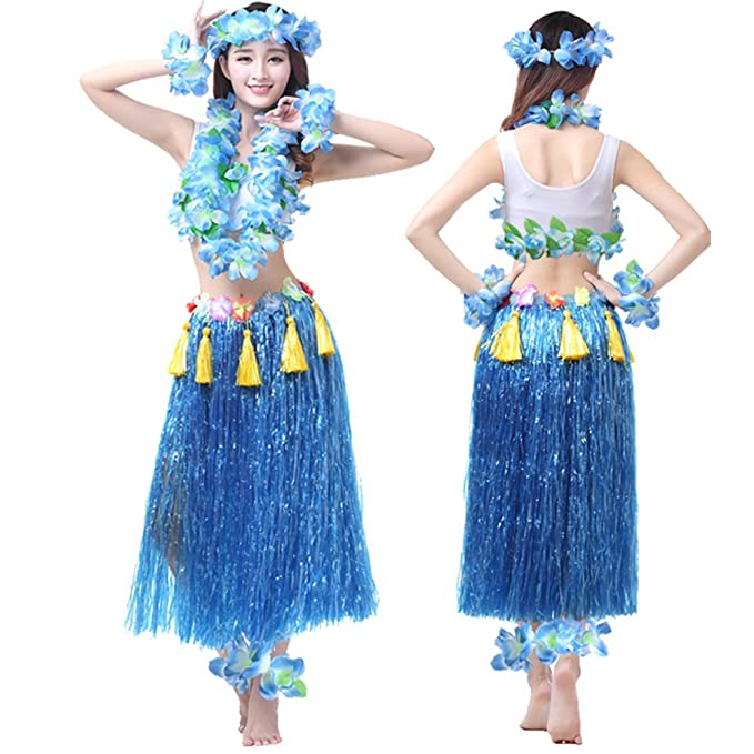 Amazon.com: Valecos Hawaiian Hula Dance Costume Ballet Performance Cosplay  Dress Skirt Garland Full Sets: Clothing
