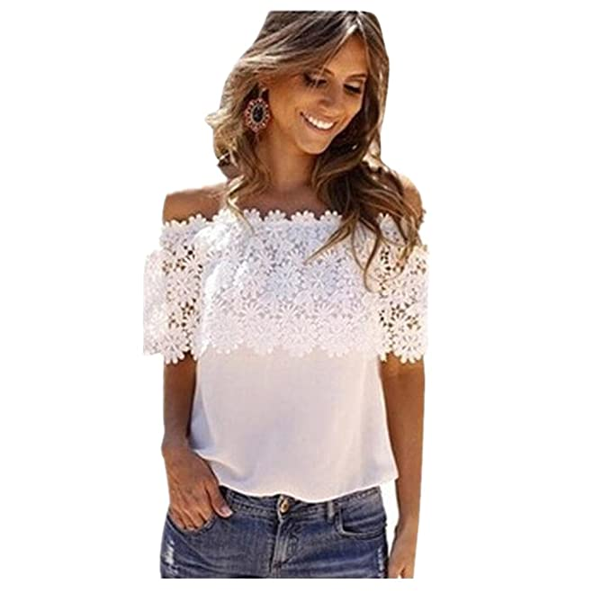 5adae6a473cae Internet Sexy Women Off Shoulder Tops Lace Crochet Chiffon Shirt Blouse   Amazon.co.uk  Clothing