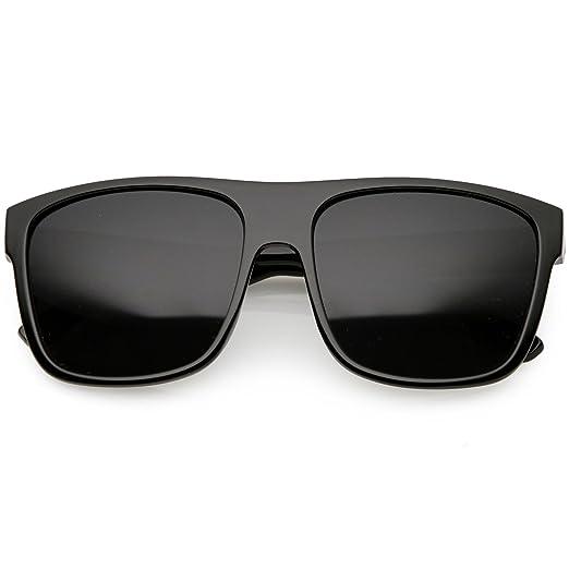7dd83b90e74 sunglassLA - Men s Oversize Flat Top Horn Rimmed Sunglasses Wide Arms  Square Lens 56mm (Black