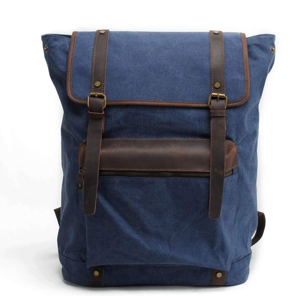 Liweibao Mens Canvas Backpack Fits 15 Laptop Bookbag Handbag for School Short Hike Travel Daypack Outdoors Color : Blue, Size : Free Size