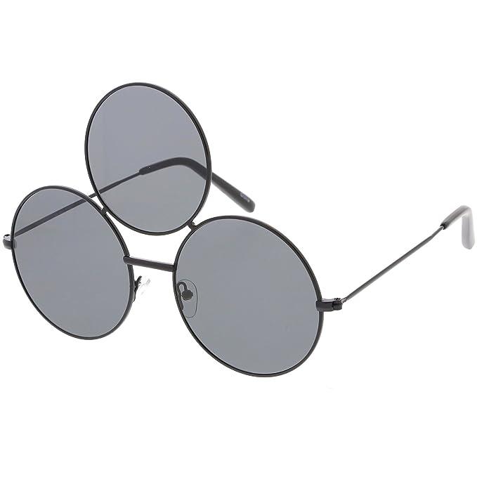 9779341eb5 Amazon.com  sunglassLA - Oversize Circle Third Eye Sunglasses For Men Women Slim  Arms 56mm (Black Smoke)  Clothing