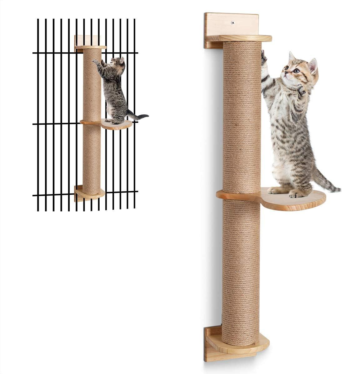 FUKUMARU Cat Activity Tree with Scratching Posts Jute Scratcher Hammock