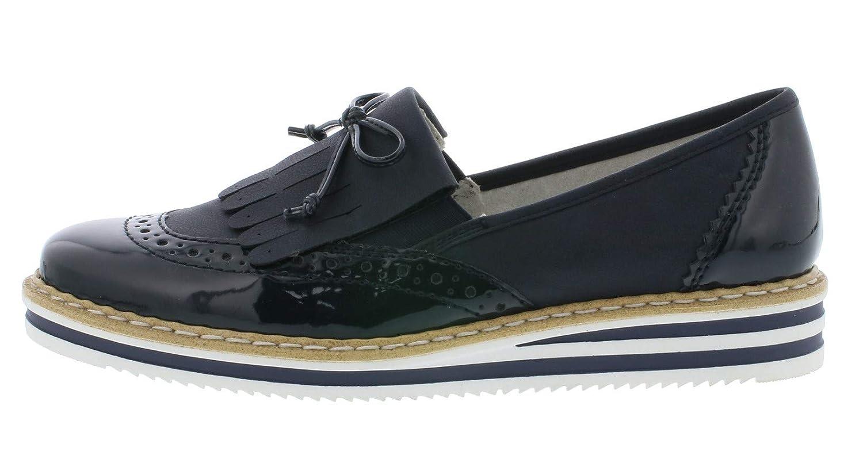 Rieker Damen Slipper Blau: Schuhe & Handtaschen B07HWXDY98