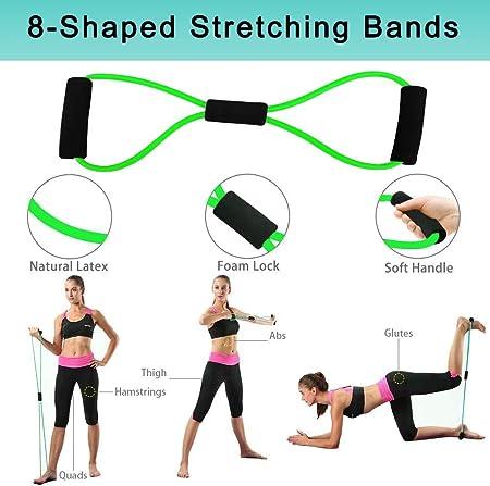 Bandas resistencia elástica de fitness Kit banda entrenamiento hombres y mujeres 5 tubos látex manijas goma espuma anclajes puertas correas tobillos ...