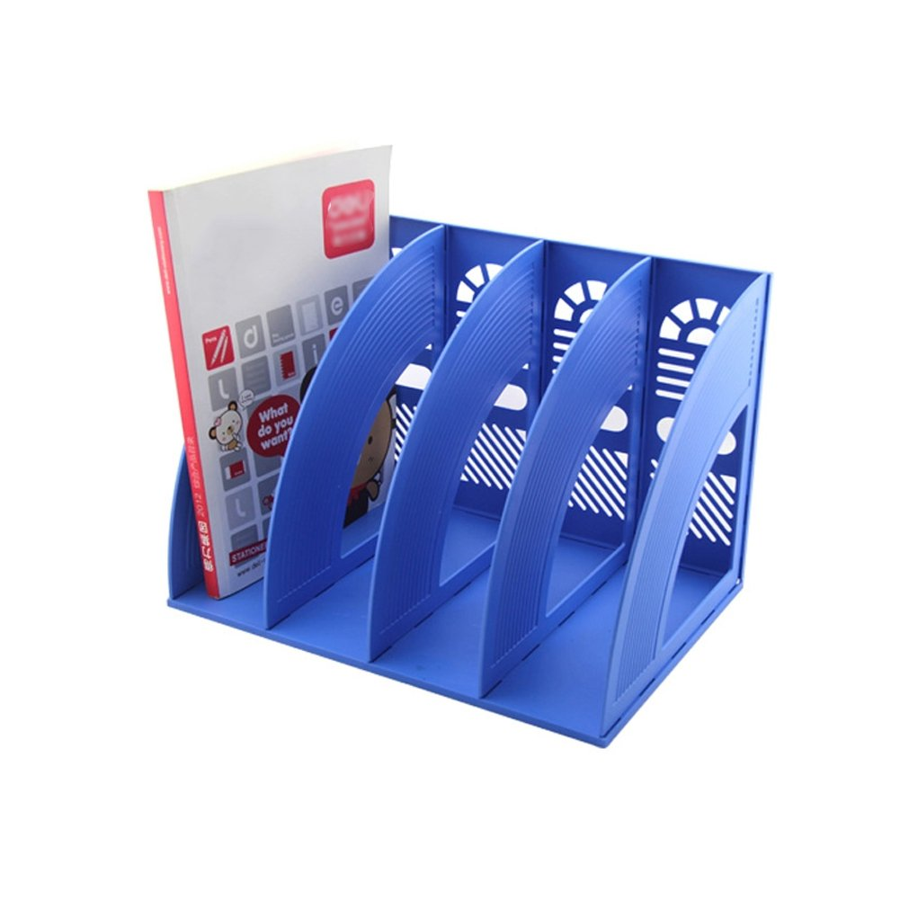 Whthteey 4 Compartment Desktop File Organizer Basket Plastic File Holders for Home Office School Blue