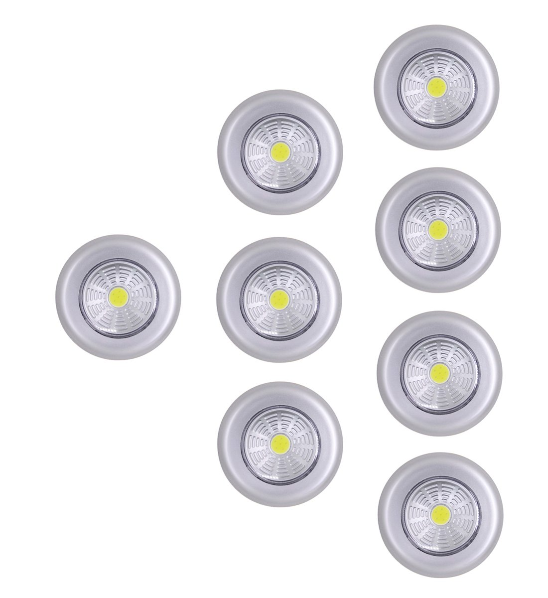 UOTOO COB LED Push Lights, Wireless Stick on Touch Lights, Battery Powered Led Night Light for Closet, Cabinet, Storage Room White Light 8-Pack