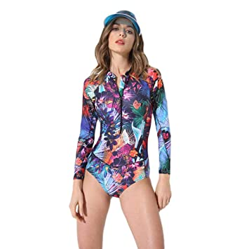 df12f8603ee Swimming Costume FOCLASSY Ladies One Piece BIKINI Swimsuit Long Sleeve  Fashion FLower Printed Plus Size Zip