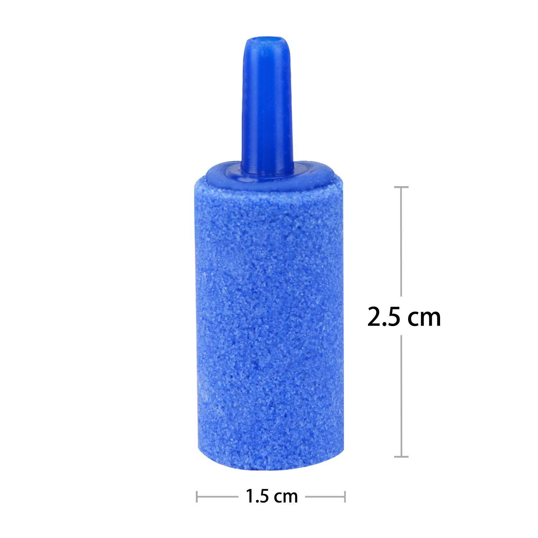 Uniclife 2.5cm//1 Inch Air Stones Cylinder 12 PCS Bubble Diffuser Airstones for Aquarium Fish Tank Pump Blue