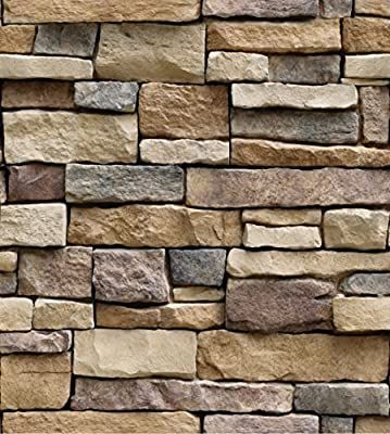 GURMORE 3D Stone Brick Wallpaper, PVC Peel and Stick Wallpaper for Home Design and Room Decoration