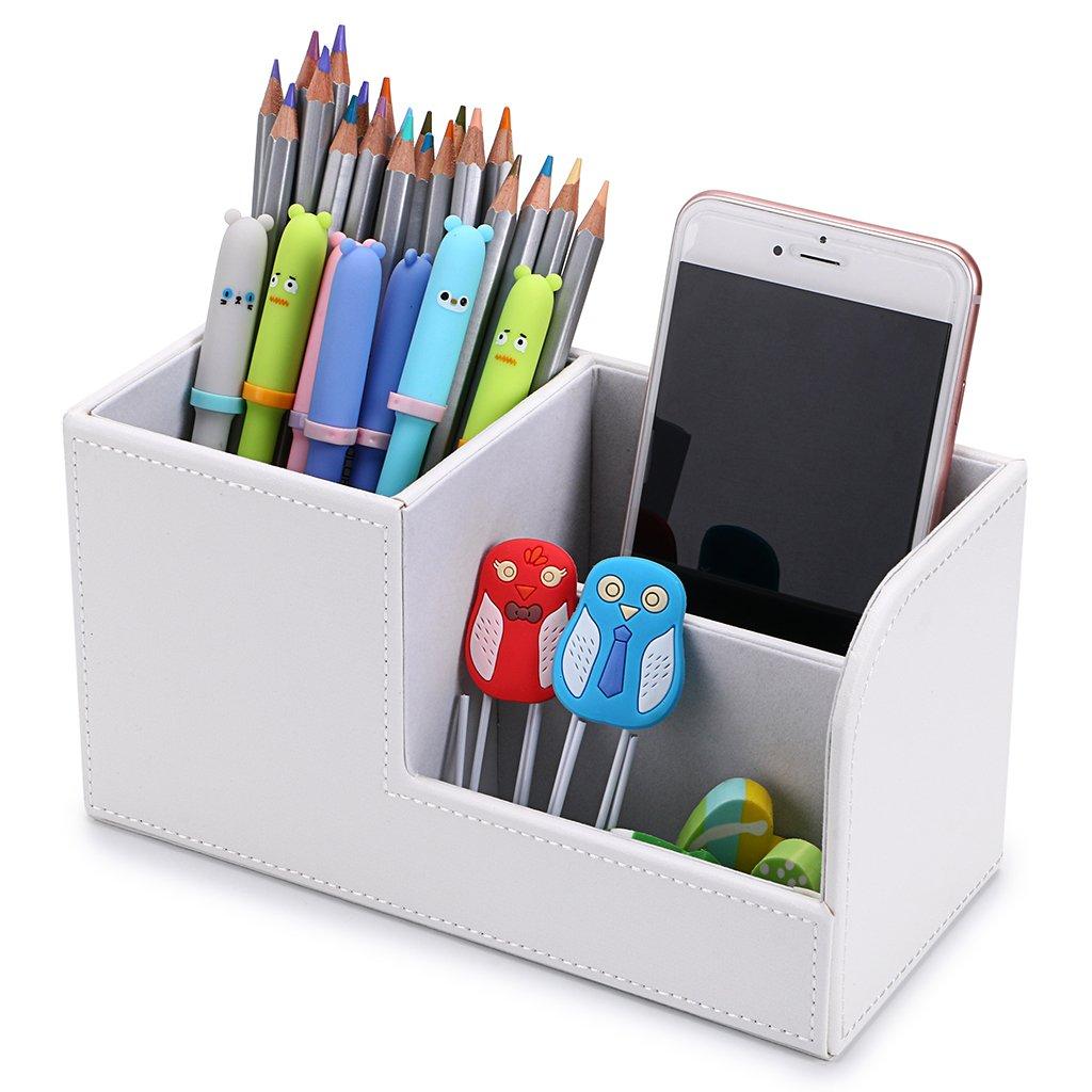 BTSKY - Organiser per scrivania con 3 scomparti in pelle ecologica in poliuretano, multifunzione, ideale per articoli di cancelleria, biglietti da visita, penne, cellulari, telecomandi, cosmetici White