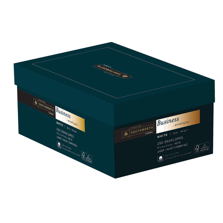 Southworth 25% Cotton #10 Business Envelopes, 24 Pounds, White, 250 Count (J404-10) by Southworth