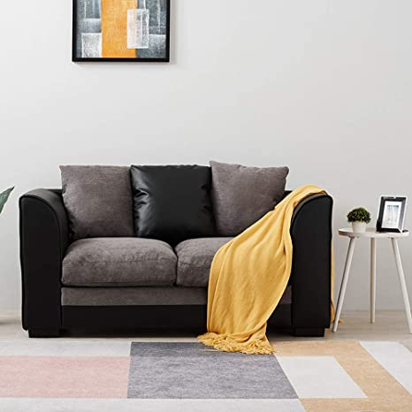Brilliant Wellgarden Faux Leather And Fabric 2 Seater Sofa Corner Group Sofa L Shaped Sofa Settee Left Or Right Chaise Couch Grey And Black 2 Seater Beatyapartments Chair Design Images Beatyapartmentscom